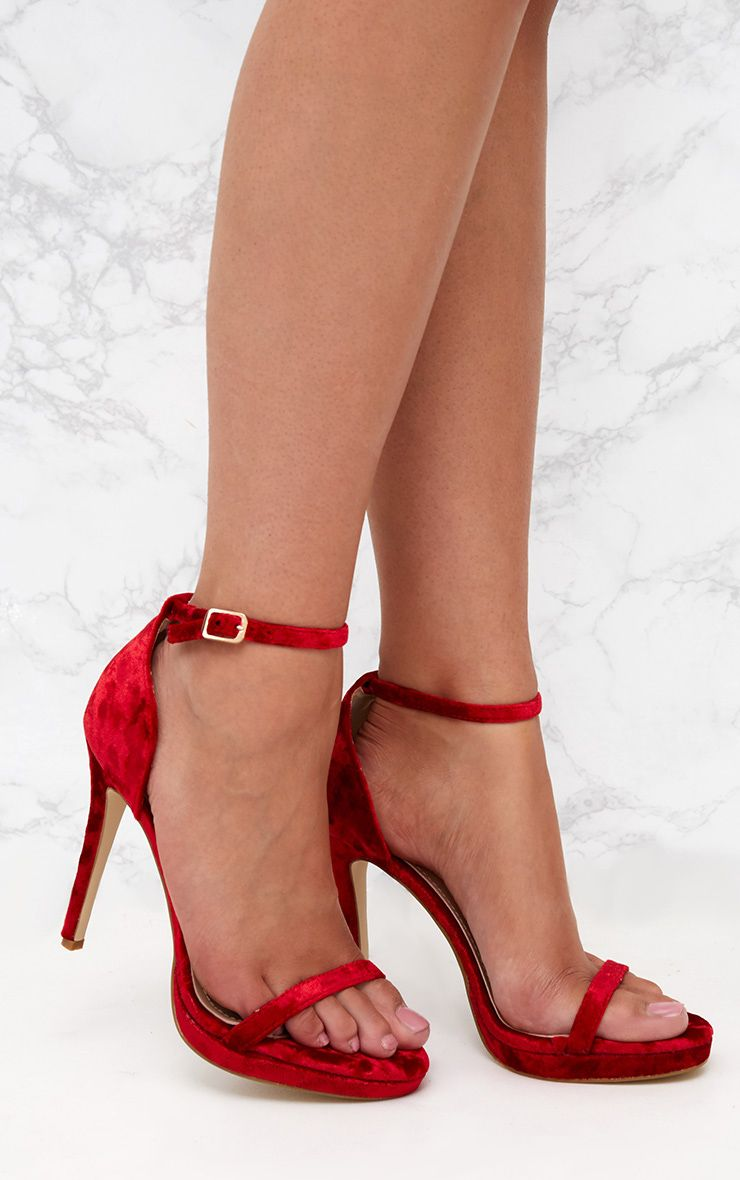 Red Velvet Single Strap Heeled Sandals