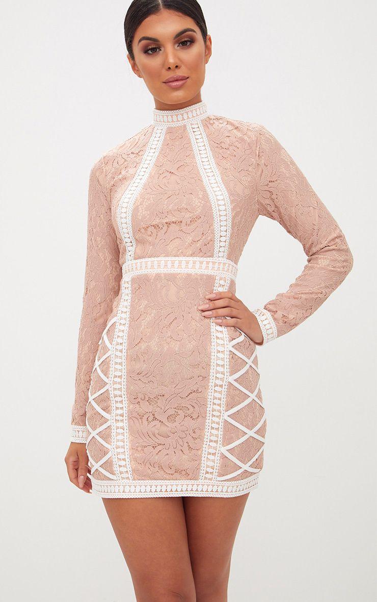 Nude High Neck Lace Lattice Detail Bodycon Dress 1