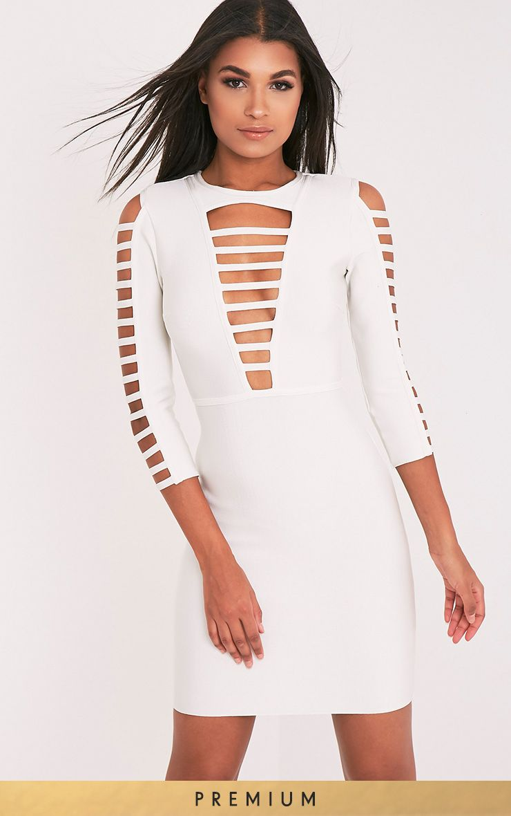 Laurena White Premium Extreme Strap Bandage Dress