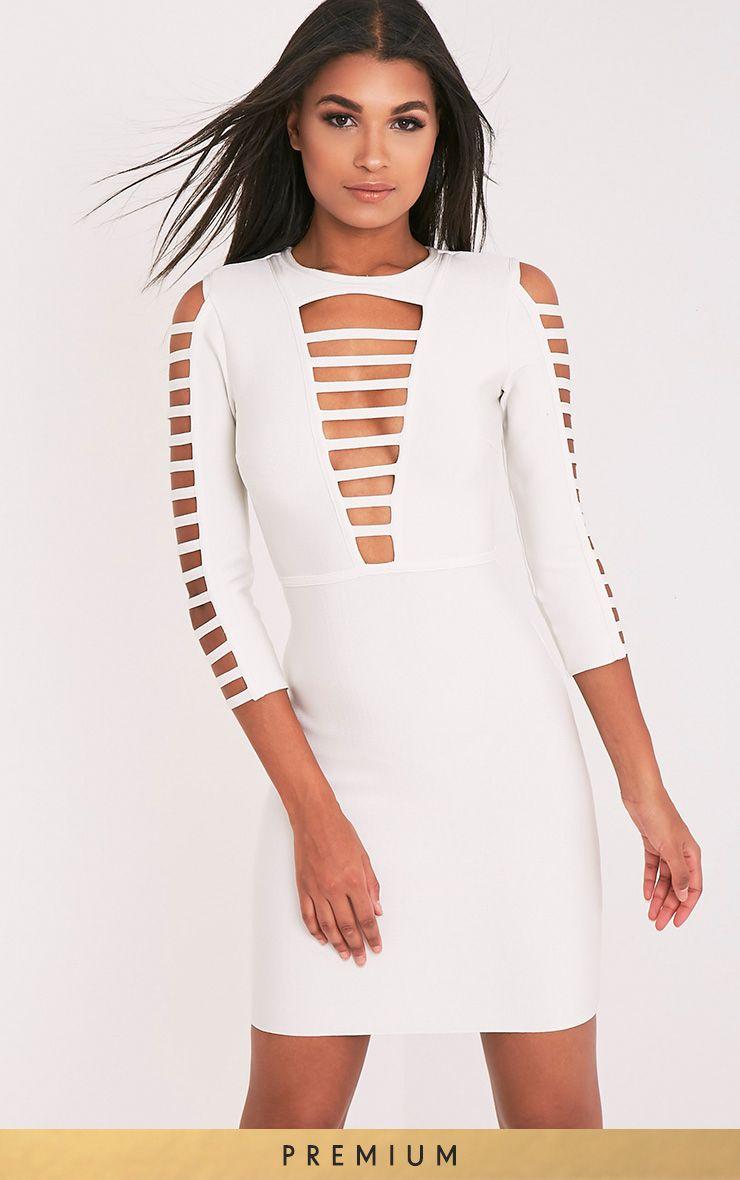 Laurena White Extreme Strap Bandage Dress