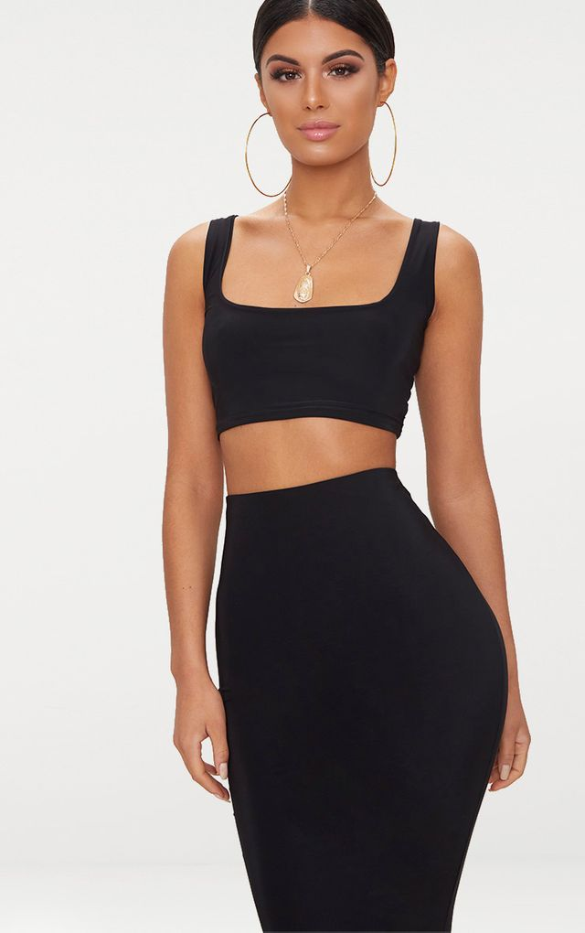 Black Slinky Square Neck Sleeveless Crop Top