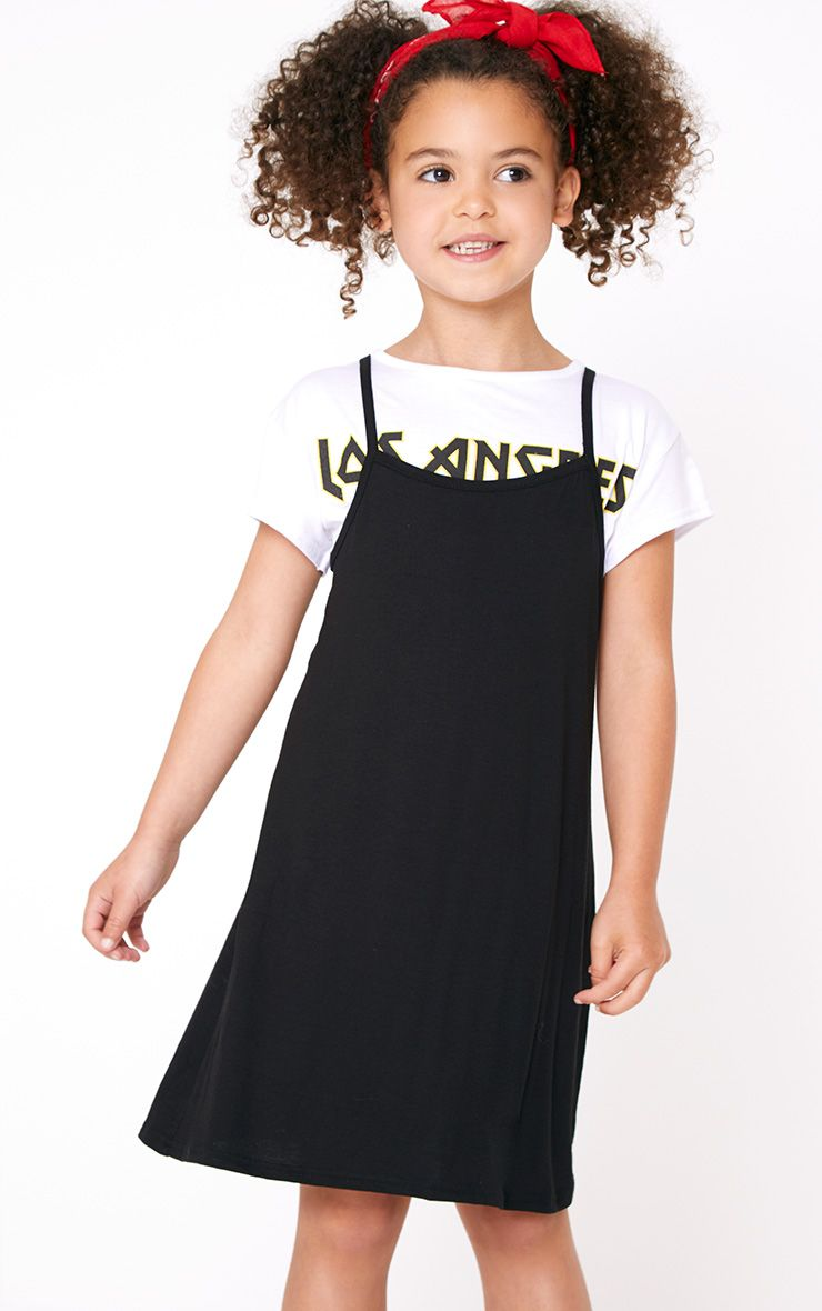 2 In 1 Monochrome Slogan T Shirt and Slip Dress