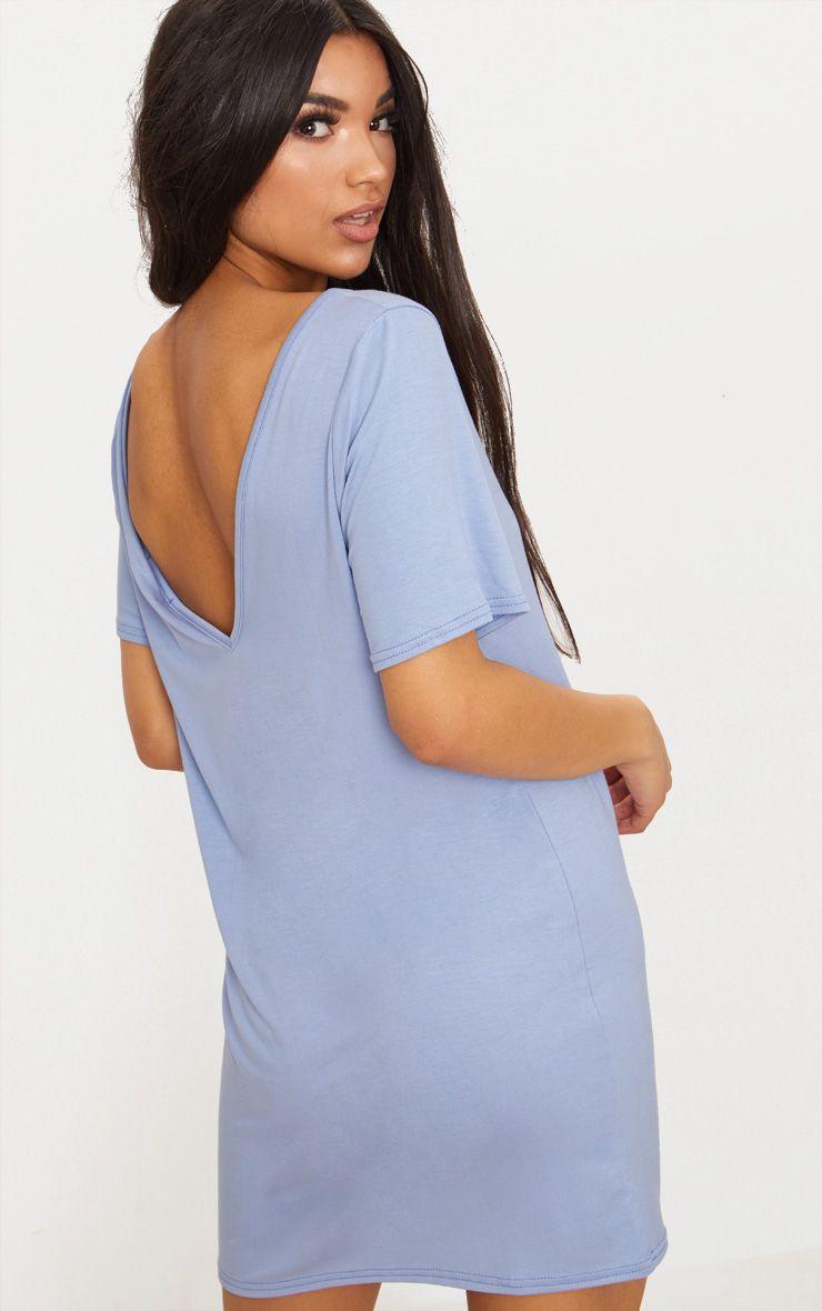 Dusky Blue Basic V Neck T Shirt Dress