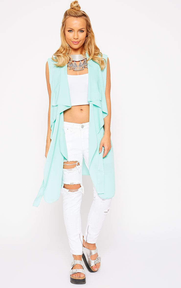 Andi Mint Sleeveless Lightweight Waterfall Jacket 1