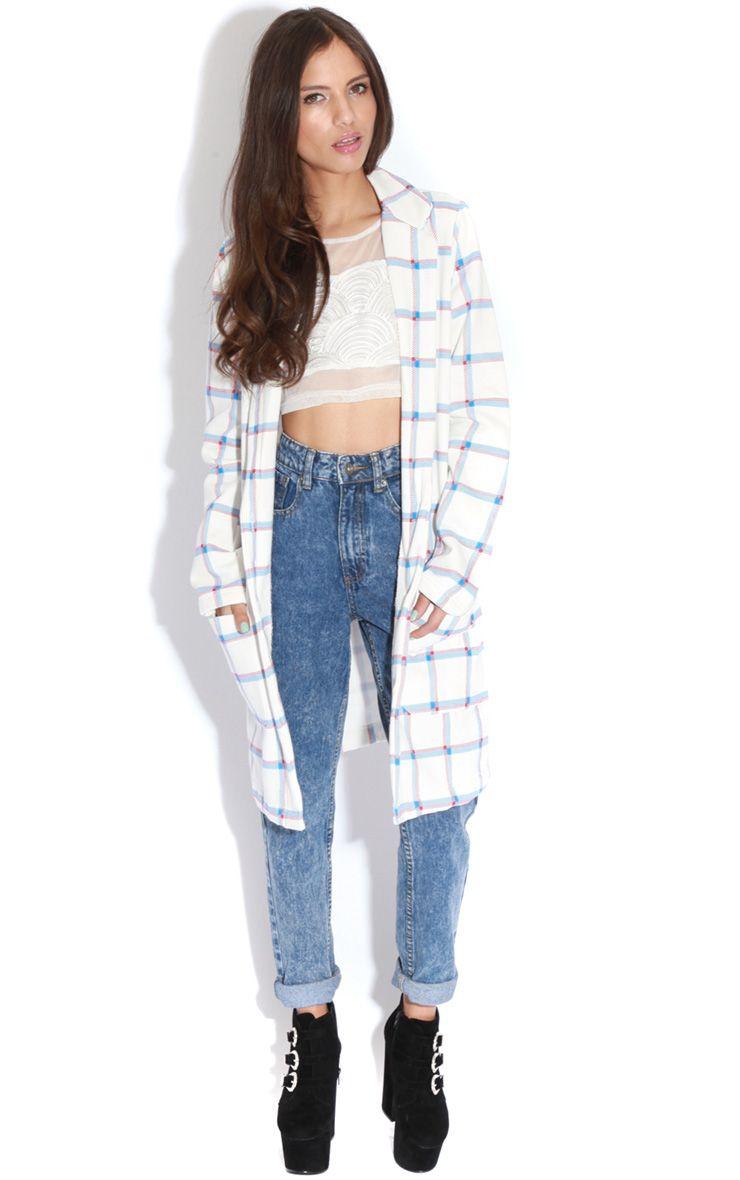 Kirsty White Tartan Long Blazer 1