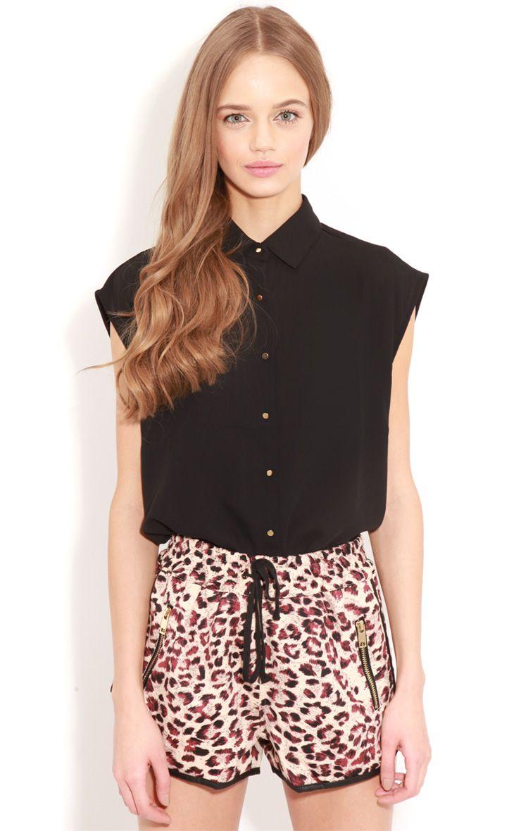 Effie Black Chiffon Sleeveless Shirt-S/M 1