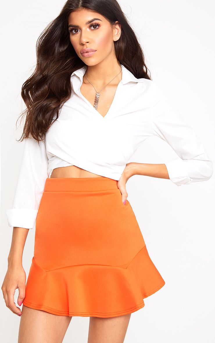 Bright Orange Flippy Hem Mini Skirt