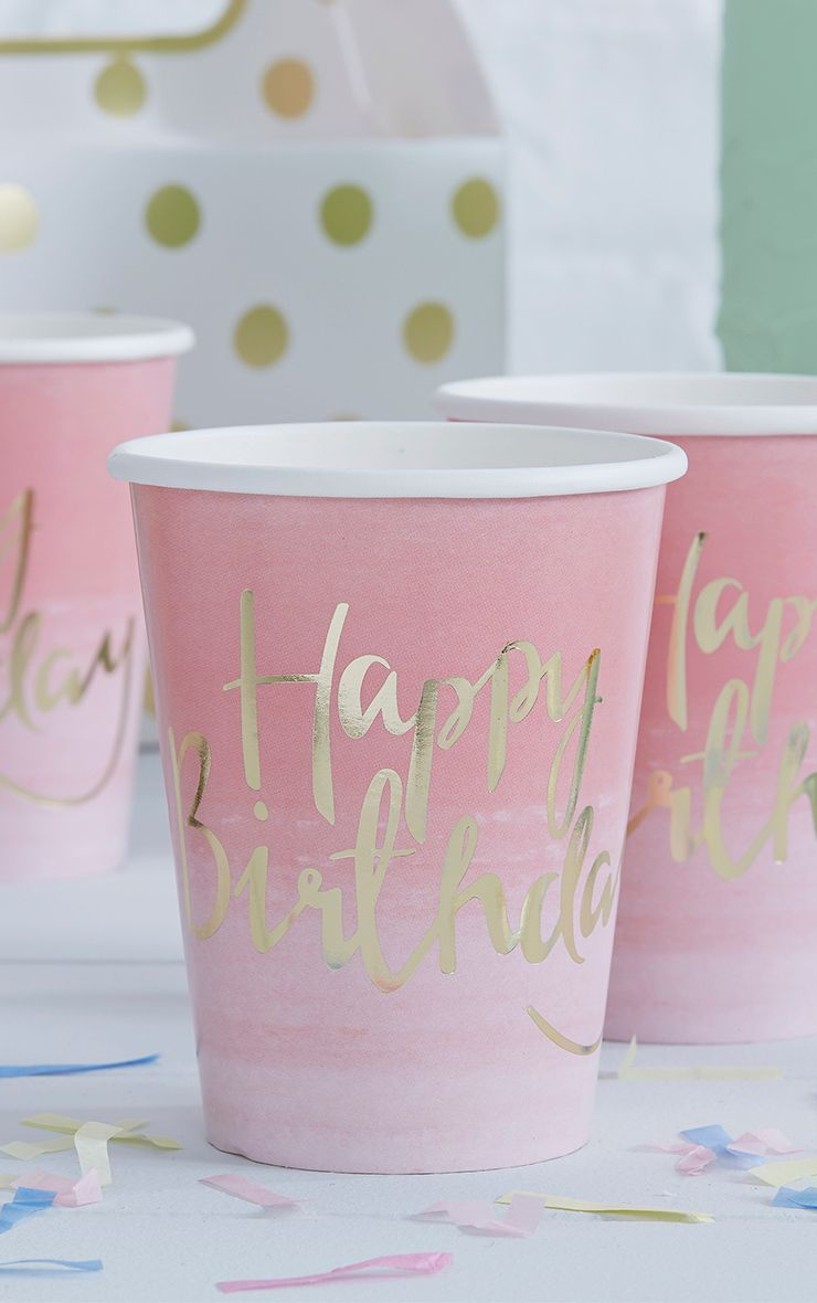 8 Pack Pink Ombre Happy Birthday Paper Cup