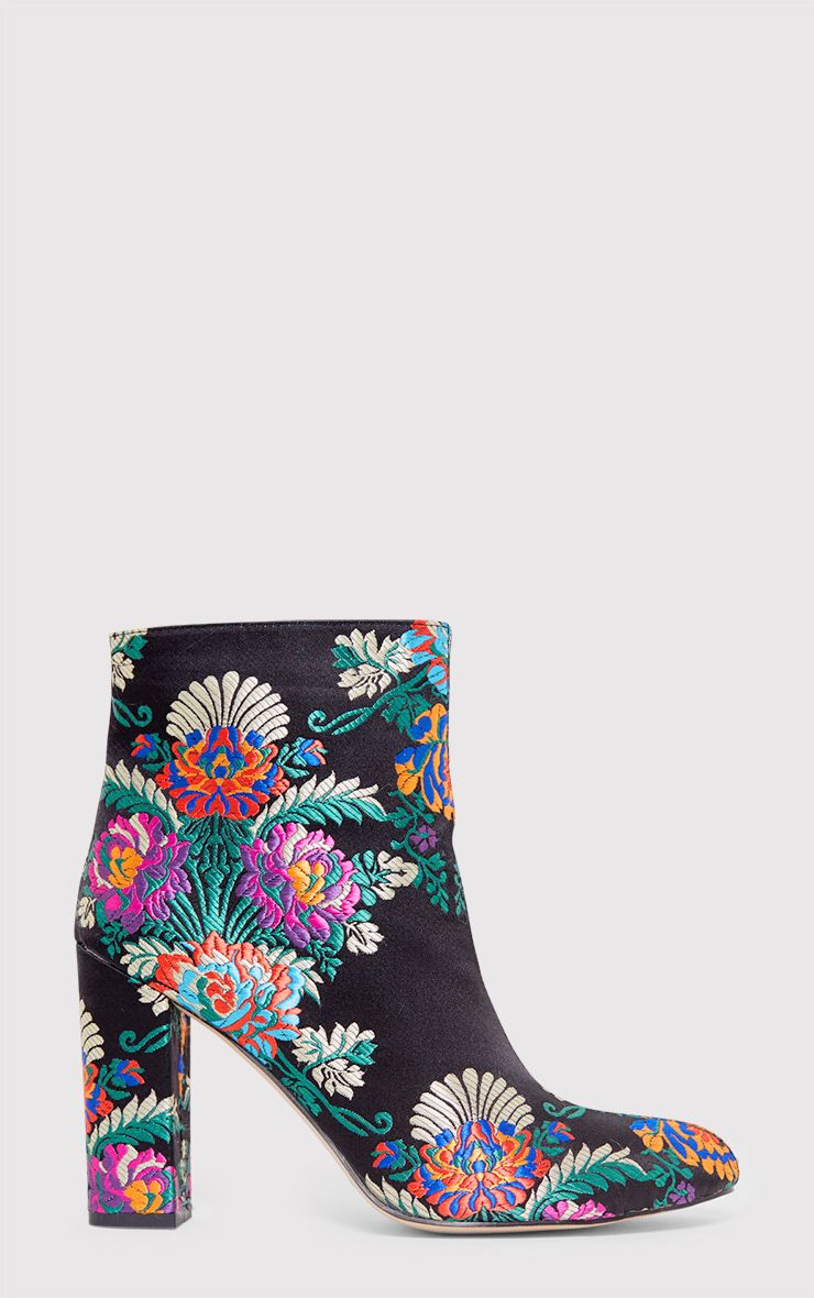 Valeria Floral Embroidered Ankle Boots