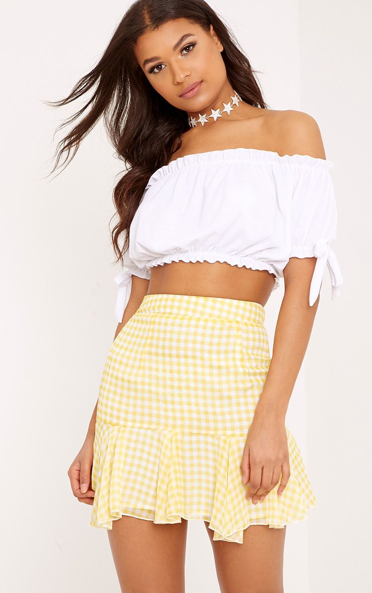 Zahara Yellow Chiffon Floaty Hem Gingham Mini Skirt 1
