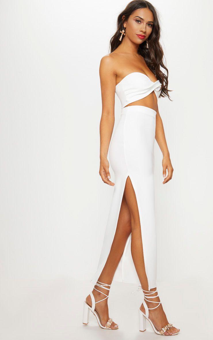 Cream Scuba Split Side Midaxi Skirt
