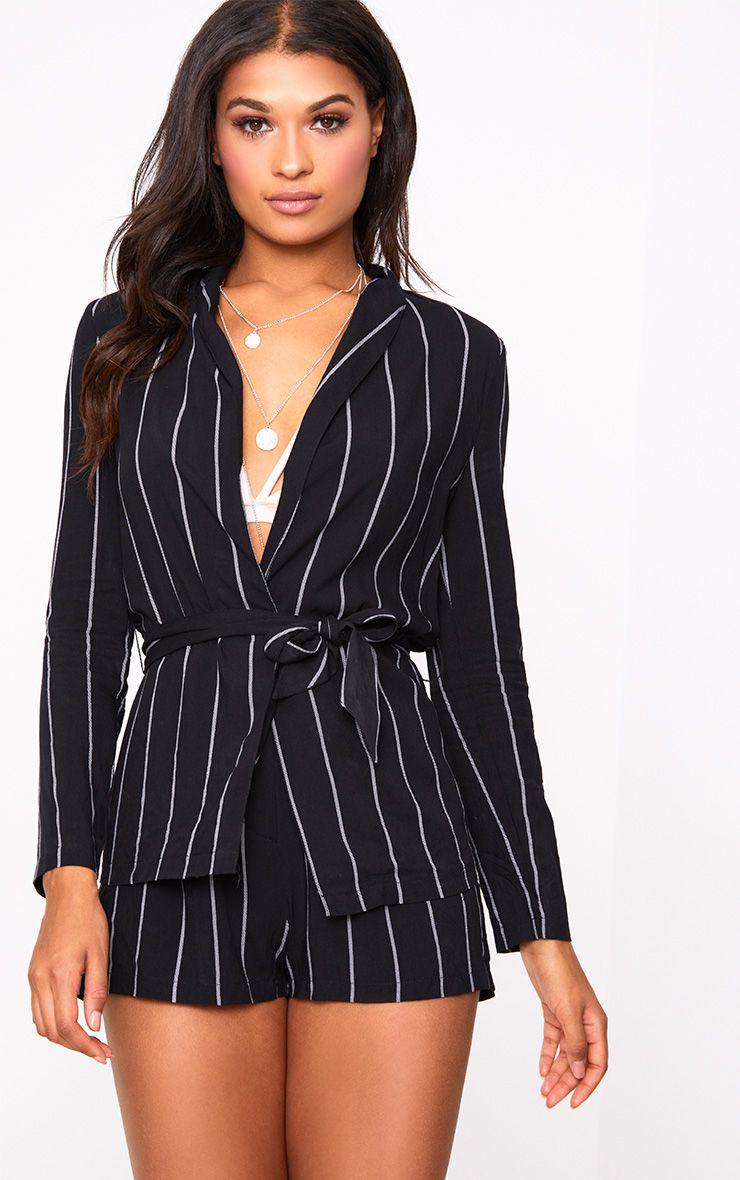 Black Pin Stripe Belted Blazer
