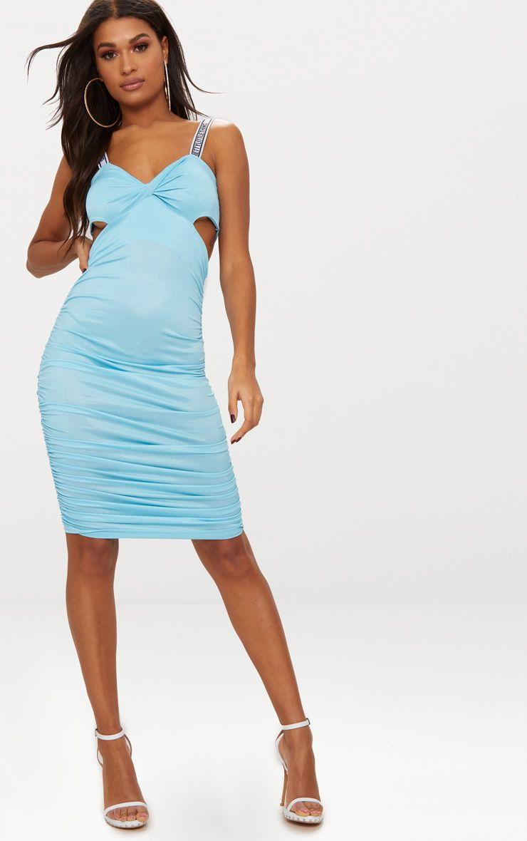 sky blue twist front pretty little thing ruched midi dress
