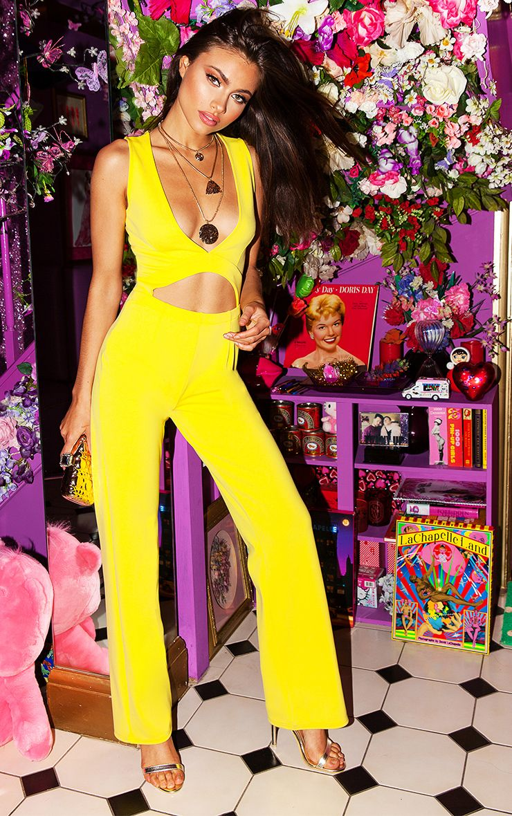 Yellow Plunge Cut Out Jumpsuit