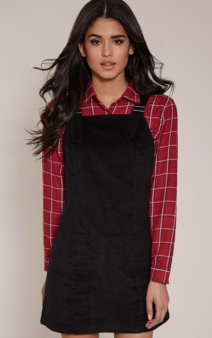 Maxine Black Cord Pinafore Dress 1