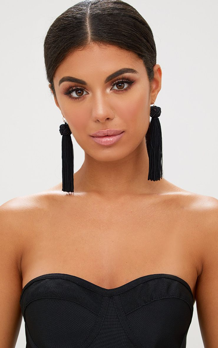 Black Knotted Tassel Earrings