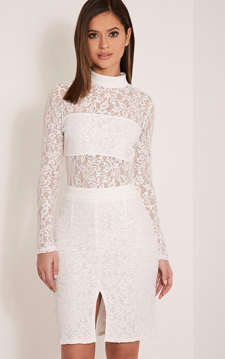 Viola White High Neck Lace Midi Dress