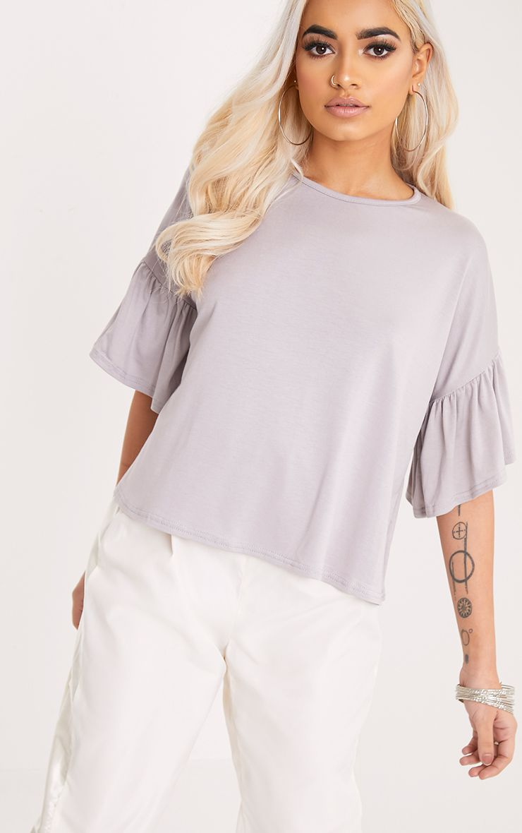 Adnie Dove Grey Frill Sleeve T Shirt