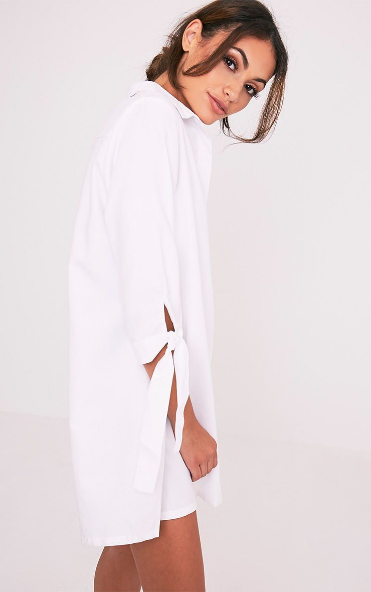 Maysia White  Cuff Detail Shirt Dress 4