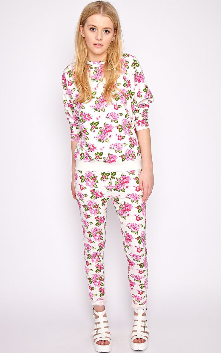Aria White Floral Sweater Pants 1