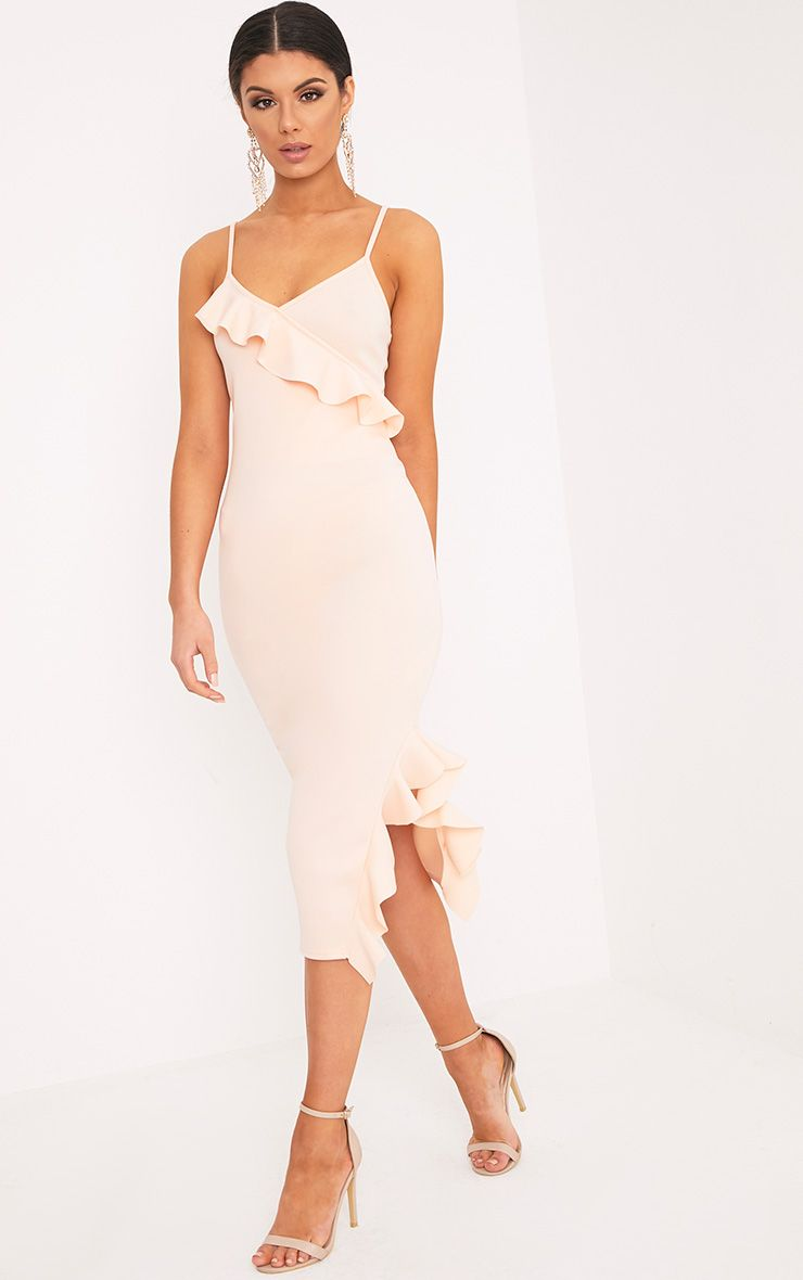 Rebekka Peach Strappy Frill Detail Midi Dress