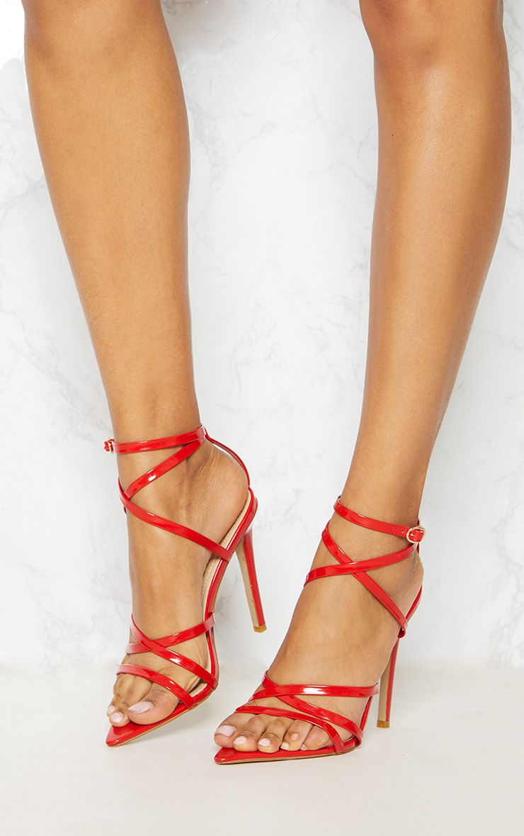 RED PATENT STRAPPY POINT TOE HEELS