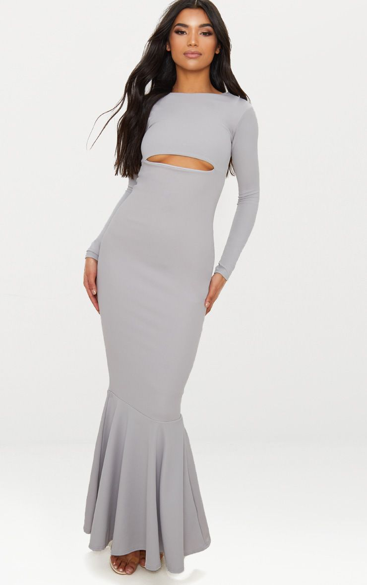 Ice Grey Cut Out Detail Long Sleeve Fishtail Maxi Dress