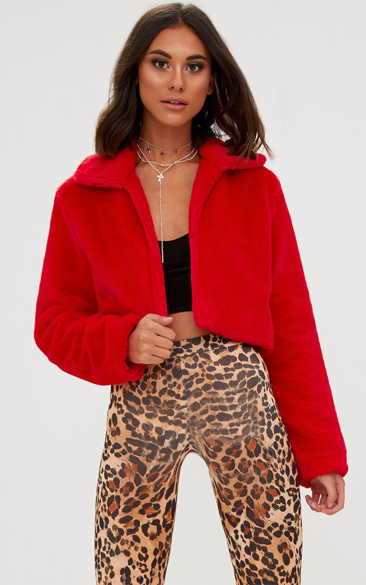 Red Cropped Faux Fur Coat
