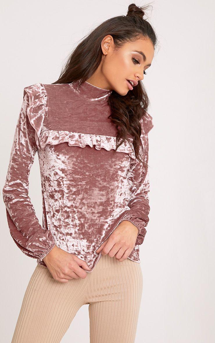 Teyah Dusty Pink Crushed Velvet Ruffle Top