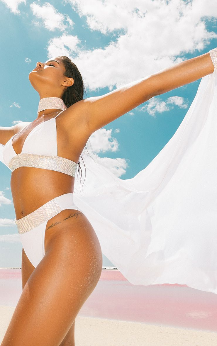 Premium White Diamante Collar & Cuff Poolside Cape