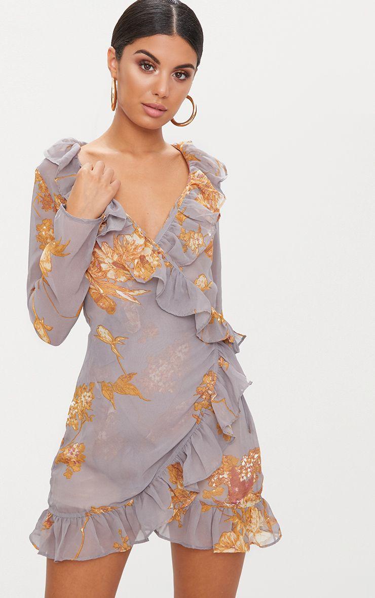 Grey Floral Frill Wrap Mini Dress