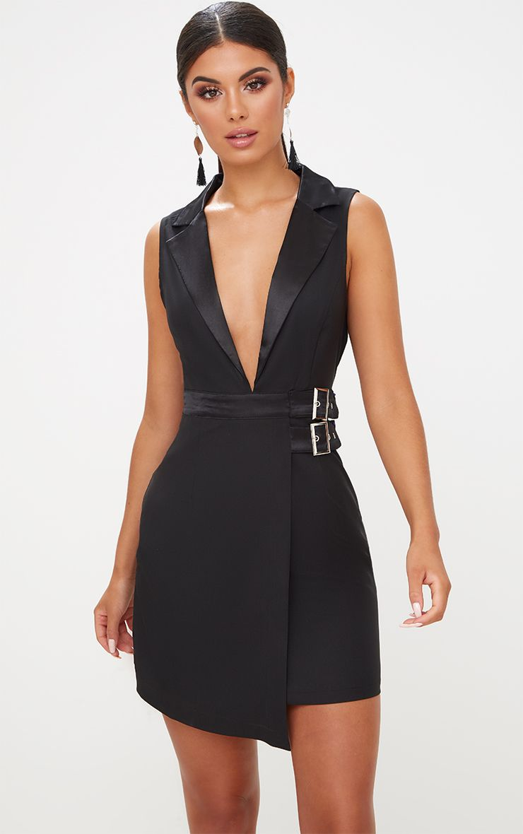Black Sleeveless Buckle Detail Blazer Dress