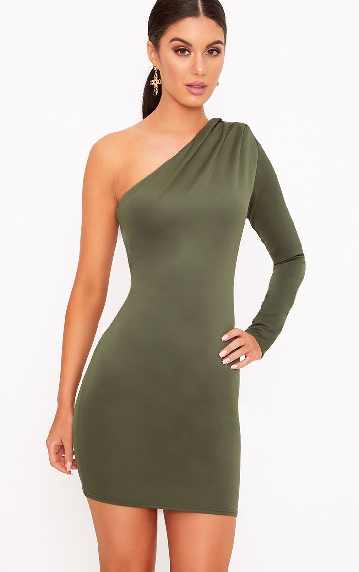 Khaki One Shoulder Ruched Bodycon Dress 1