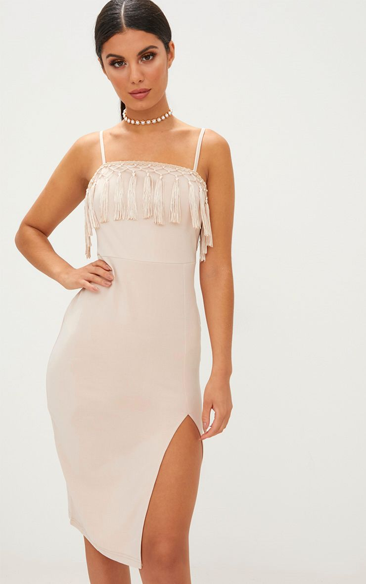 Nude Strappy Tassel Detail Side Split Midi Dress