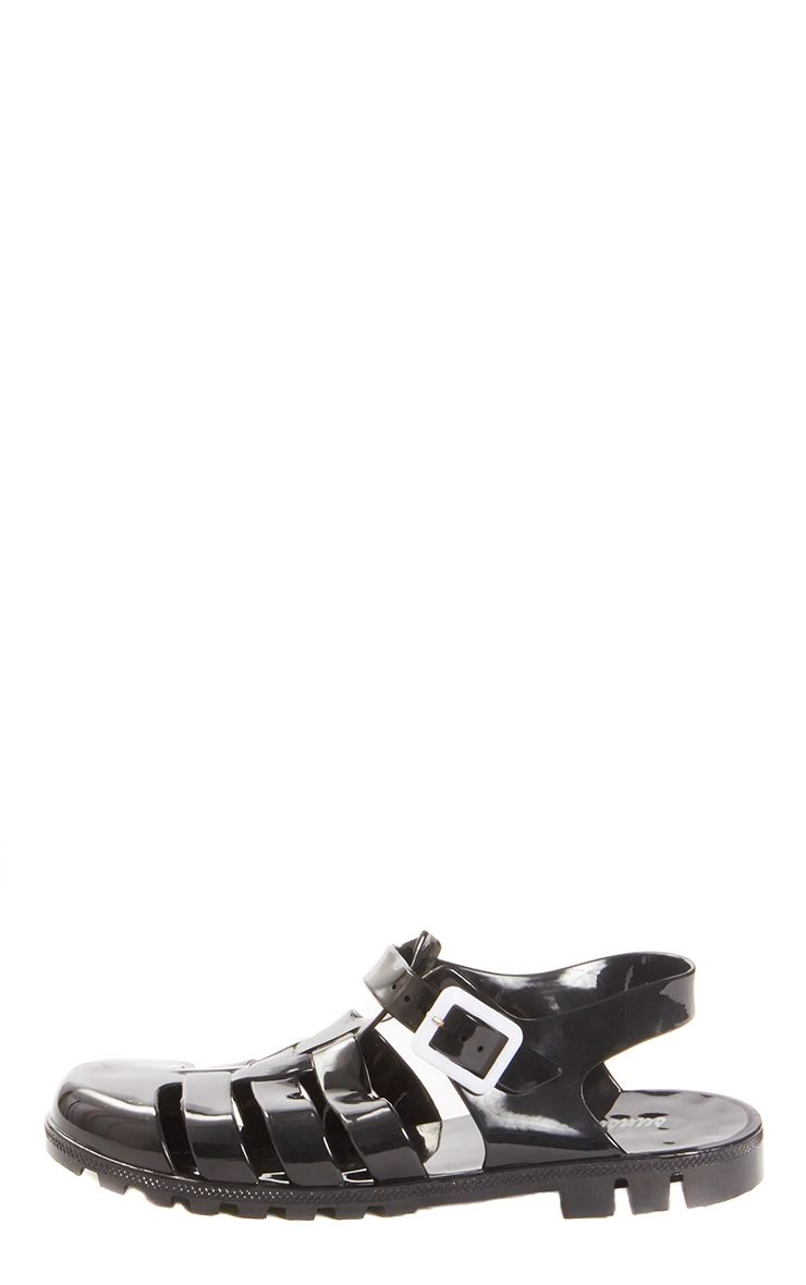 Raida Black Flat Jelly Sandal  1