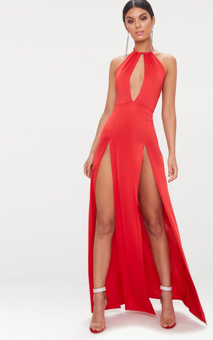 Red High Neck Cut Out Detail Extreme Split Maxi Dress