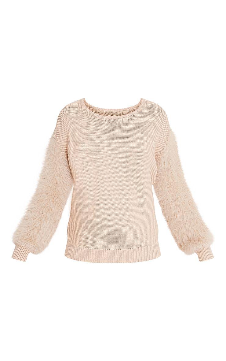 Rene pull gris pierre tricoté fin à manches duveteuses 3