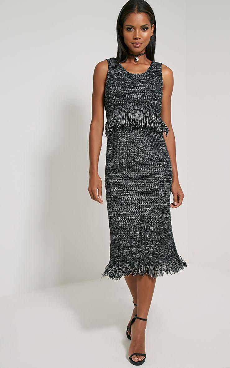 Poesy Black Knitted Tassel Dress 1
