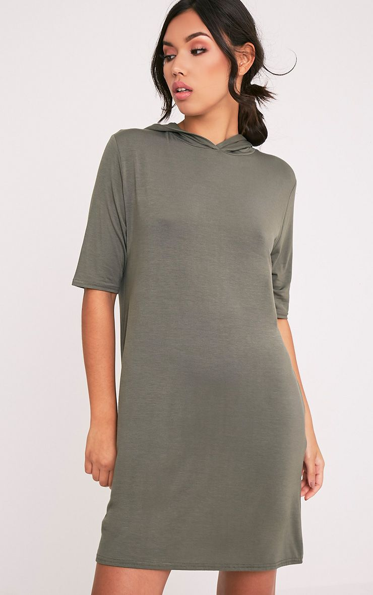 Abbie Khaki Short Sleeve Hooded T Shirt Dress