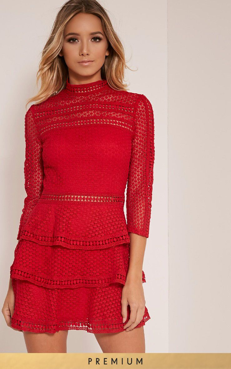 Caya Red Premium Lace Panel Tiered Mini Dress