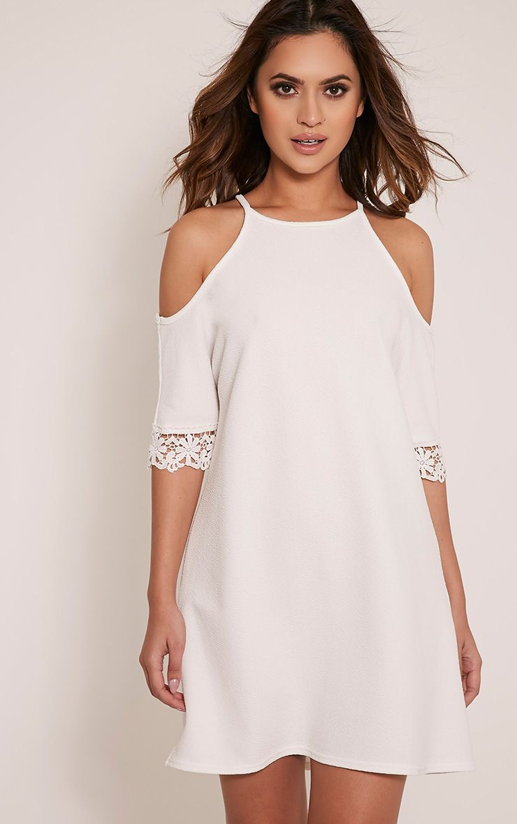 Christie White Lace Trim Cold Shoulder Dress