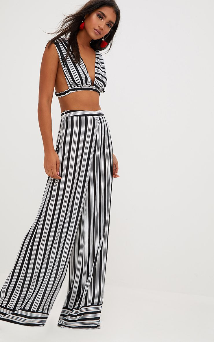 Black Contrast Stripe Mix Wide Leg Trousers
