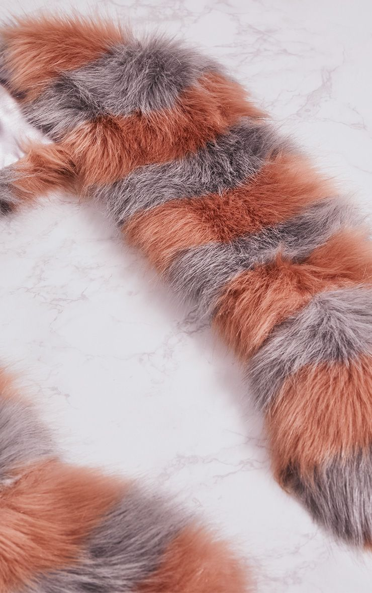 Grey and Peach Long Two Tone Faux Fur Scarf 4