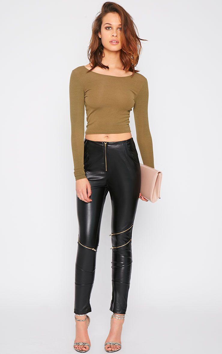 Morgandy Black Leather Biker Trouser 1