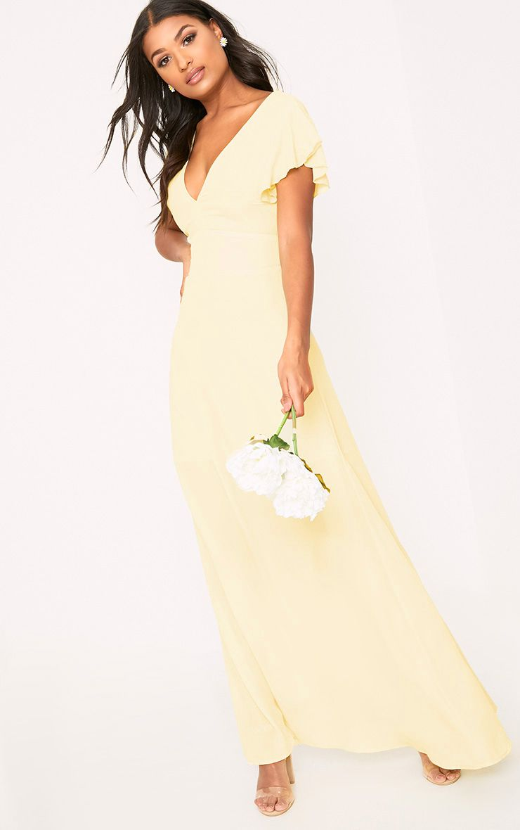 Janeen Lemon Plunge Maxi Dress