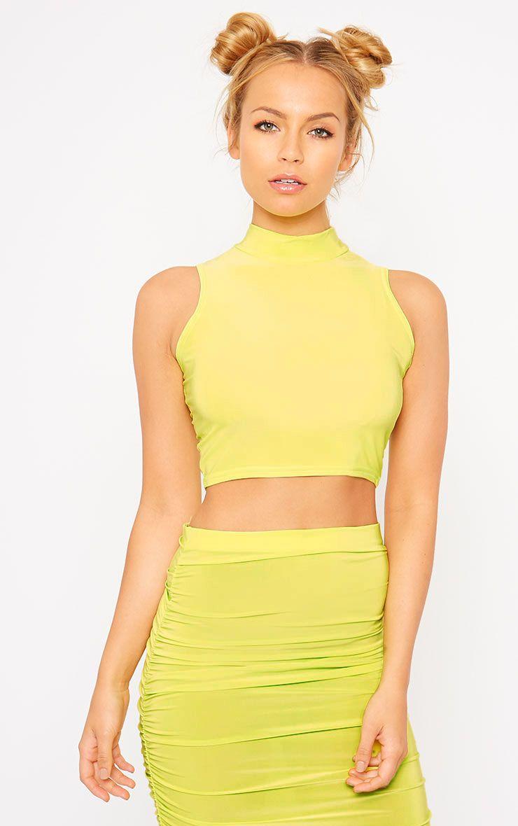Saylor Lime Sleeveless Slinky Crop Top 1