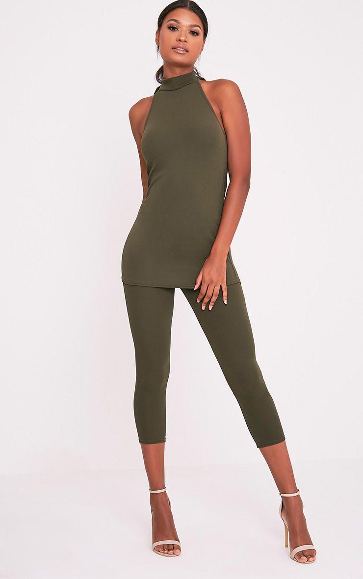 Danelle Khaki Crepe Skinny Trousers