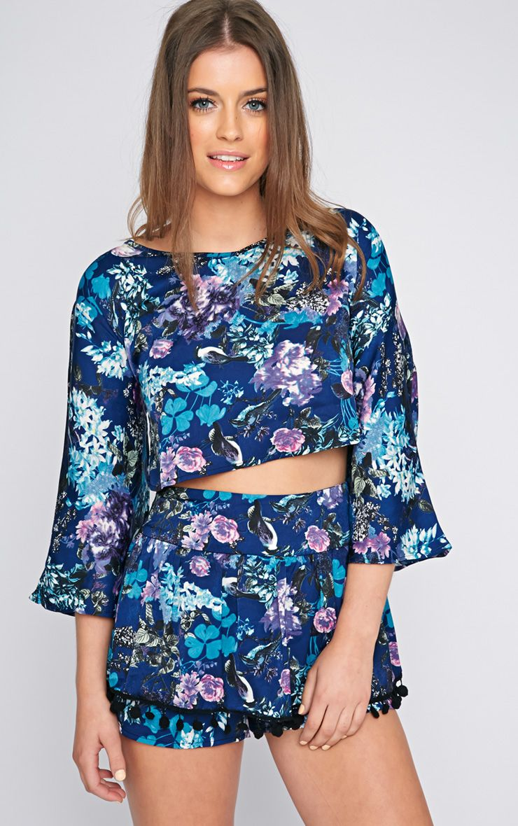 Reese Blue Floral Flared Sleeve Crop  1