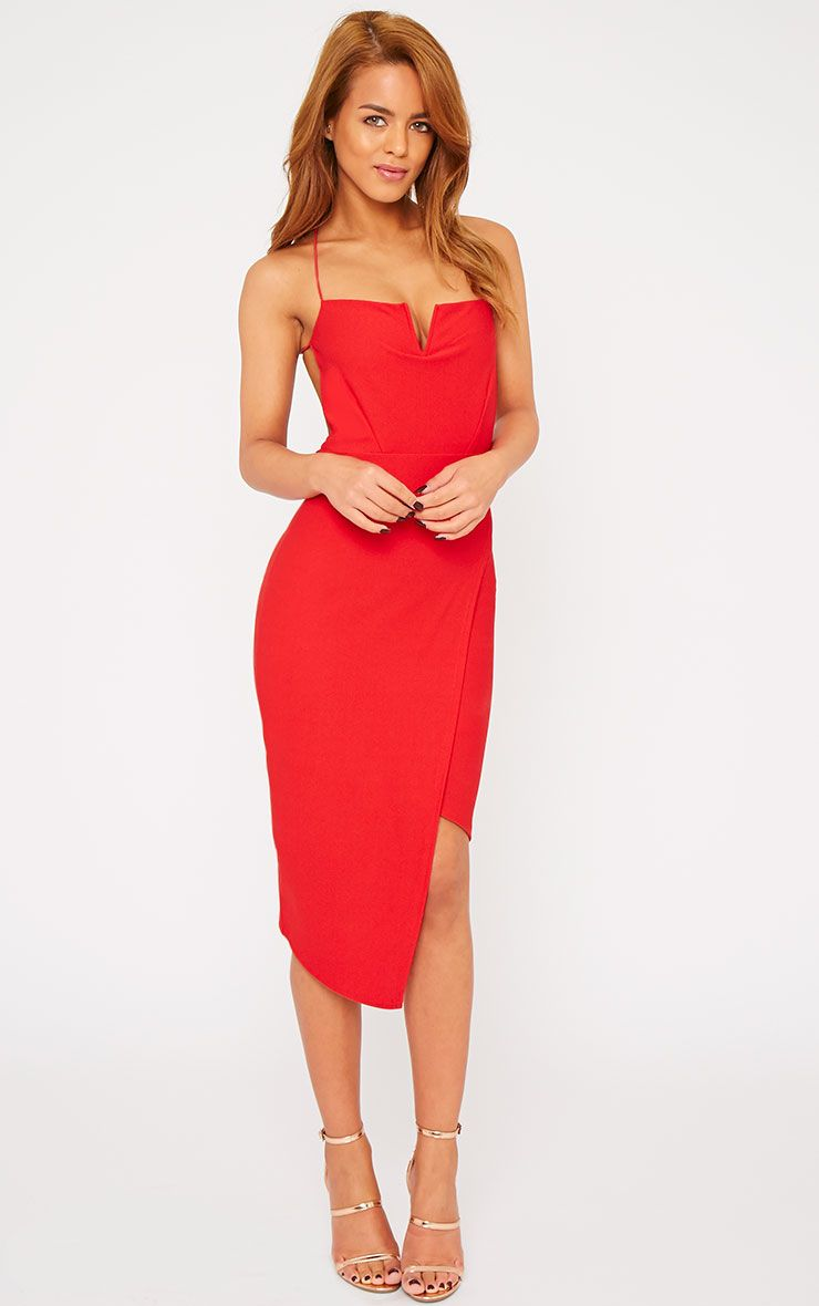 Raye Red Cross Back Asymmetric Dress 1