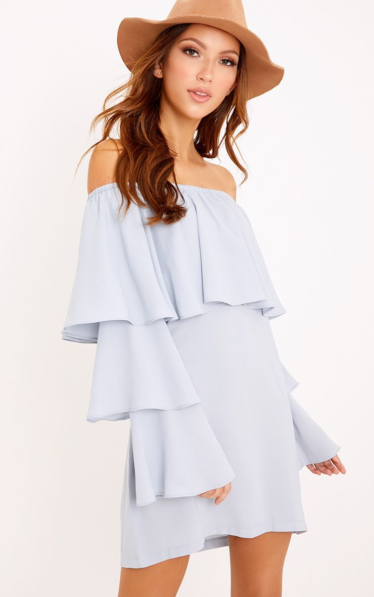 Neah Powder Blue Bardot Layered Frill Shift Dress